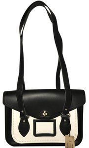 The Cambridge Satchel Company Leather Bicycle Twist Lock Satchel in black and white