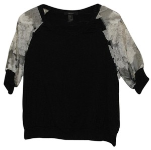 Forever 21 Rayon 1/2 Junior Ms Pullover Knit Top Black body, Sheer and White sleeves