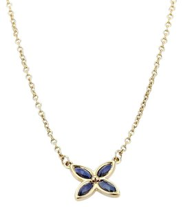 Tiffany & Co. Victoria Sapphire 18kt Yellow Gold Floral Pendant Necklace