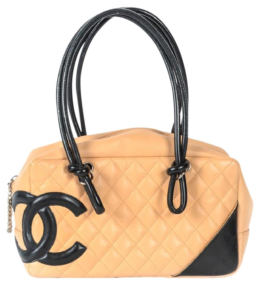 4669109fca Chanel Cambon Bowler Purse Beige and Black Lambskin Leather Shoulder Bag