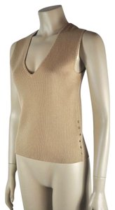 Chanel Size 40 V Neck Sleeveless Top Beige