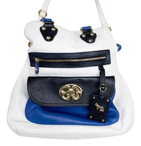 Emma Fox Two-tone Leather Print Spring Gold Hardware Tote in White, Royal Blue, Black