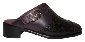 Chanel Quilted Logo Leather Black & Burgundy Mules