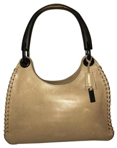 Gucci Whipstitch Leather Wooden Handle Hobo Bag