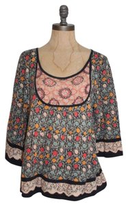 Anthropologie Printed Knit Touch-up Guinevere Top MULTI