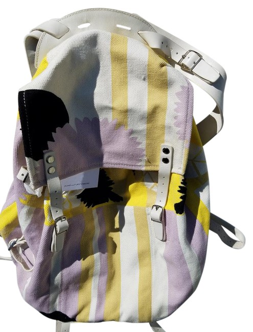 Item - Yellow Purple & White. Spacious Perfect For The Spring/Summer Canvas and Leather Backpack