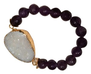 Soft Surroundings Purple Bead Bracelet With Crystal Stone