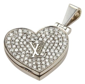 Louis Vuitton 20346 - Louis Vuitton Diamond 18k Gold Heart Locket Logo Pendant