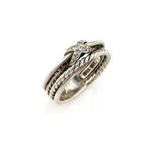 David Yurman David Yurman Diamond Sterling Silver 4 Row Cable X Design Band Ring