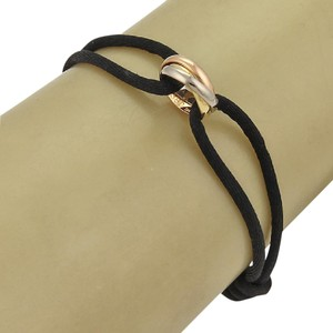 Cartier Cartier Trinity 18k 3-Color Gold 3 Mini Ring Charm Black Cord Bracelet