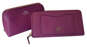 Coach Brand New Set Accordion Zip Wallet & Makeup Case In Hyacinth Purple
