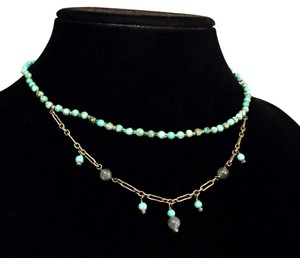 Silpada silpada sterling silver retired rare turquoise beaded double strand necklace
