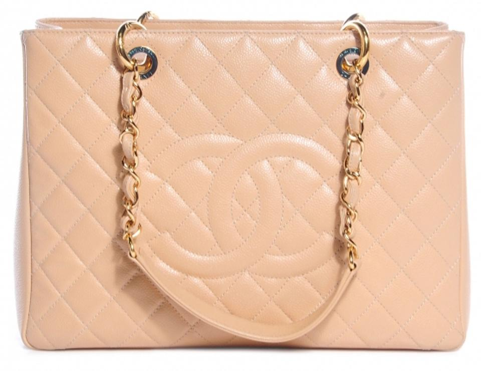 55948e0424e2 Chanel Grand Shopping Gst Quilted Gold Ghw Classic Cc Logo 15 Beige Clair Caviar  Leather Tote