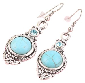 Other Fashion Women's Jewelry Round Turquoise Leaf Long Dangle Stud Earrings