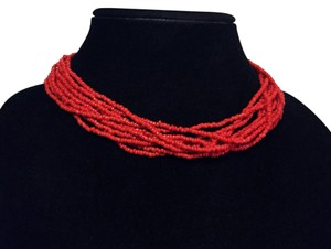 Silpada silpada multi strand red coral seed bead choker retired arrowhead necklace
