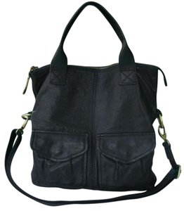 Fossil Vintage Leather Foldover Convertible Tote in black