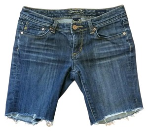 Seven7 Jeans Jean Bermuda Cut Off Shorts Blue
