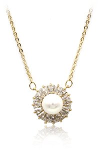 Ocean Fashion Lovely pearl crystal gold necklace