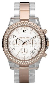 Michael Kors 5323 Chronograph White Swarovski Crystal Clear Plastic Rose Gold Watch