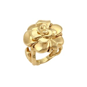 Chanel 19087 - Chanel CAMELLIA & Leaves 18k Yellow Gold Ring