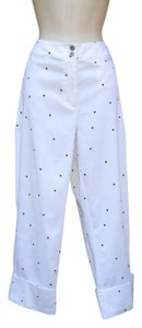 Chico's Polka Dot Cuffed Cropped Spring Capri/Cropped Pants Black/White