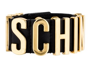 Moschino Gold-tone Moschino black leather letter logo bracelet