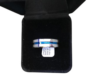 Tungsten Carbide Men's Ring Thin Blue Line Men's Ring