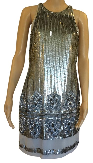 Aidan Mattox Silver Mid-length Night Out Dress Size 4 (S) Aidan Mattox Silver Mid-length Night Out Dress Size 4 (S) Image 1