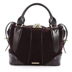 Burberry Suede Leather Satchel in Brown