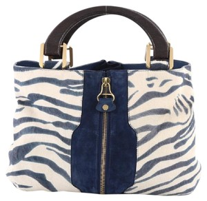 Jimmy Choo Pony Hair Tote in Blue and White