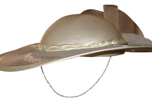 Other Wide Brimmed Fashion Hat with Tilted Brim and Ribbon Trim