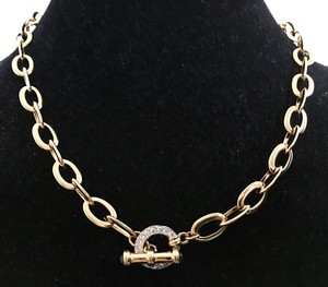 Nolan Miller NOLAN MILLER CRYSTAL TOGGLE CLASP THICK GOLD CHAIN Neclace New