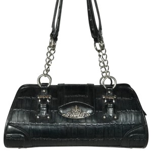 Marc Chantal Leather Silver Accents Double Strap Handles Embossed Satchel in Black
