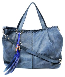 Patricia Nash Designs Feather Hang Tag Strap Acid Heavy Stitch Tote in Navy