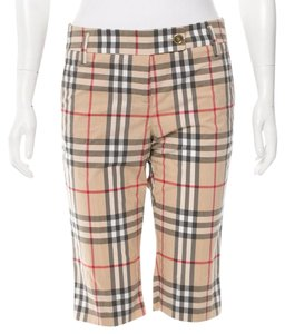 Burberry Nova Check Plaid Pleated Gold Hardware Bermuda Shorts Beige, Black