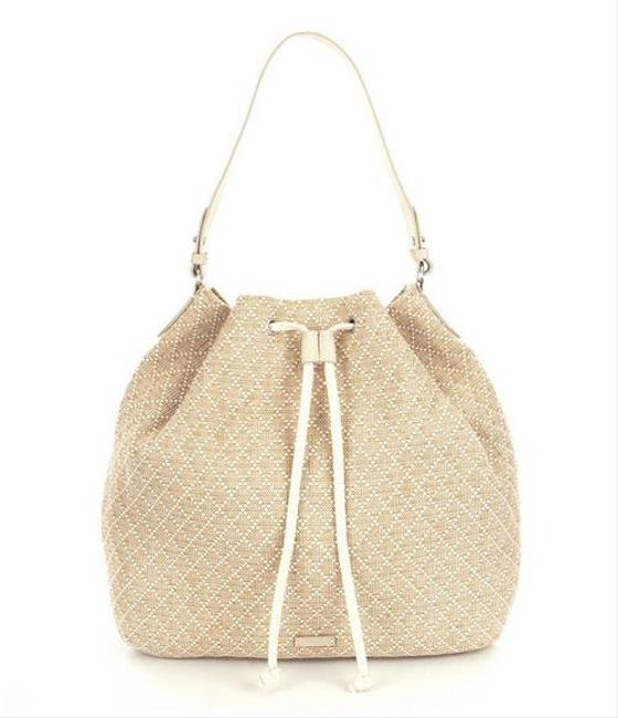 Item - Marina Drawstring Diamond Print Natural Woven Hobo Bag