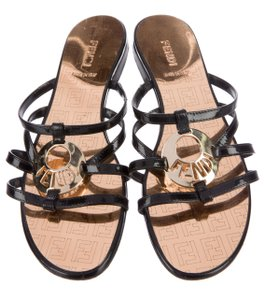 Fendi Zucca Zucchino Patent Leather Ankle Strap Gold Hardware Black, Gold Sandals