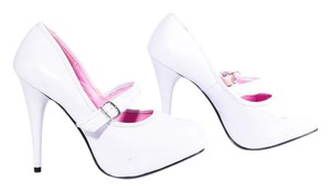 Ellie Shoes Platform Closed Toe Wedding Slip On White Pumps