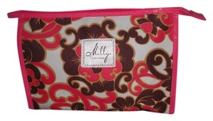 MILLY Clinique Pink Swirl Floral Cosmetic Bag Case Makeup Clutch