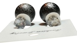 Other New Double Sided Stud Earrings Round Crystal Silver J3250