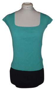Jones New York Cotton Scalloped Structured Casual Top Turquoise