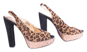 Society6 Open Toe Summer Animal Print Cheetah Brown | Black Sandals