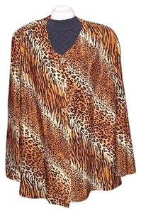 Doli Polyester Longsleeve Color-blocking Button Down Shirt Leopard