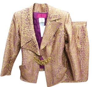 Christian Lacroix CHRISTIAN LACROIX Purple / Gold Brocade Blazer Skirt Suit