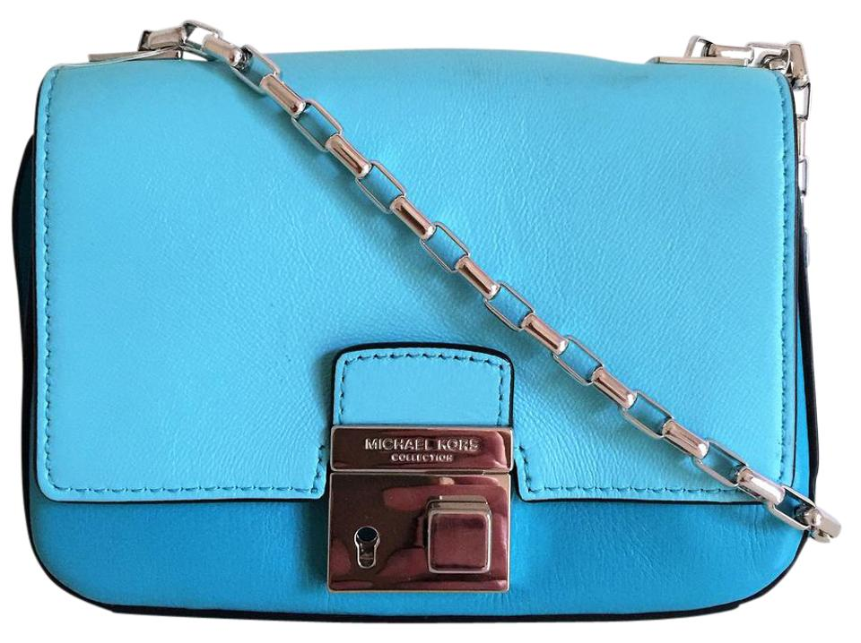 Michael Kors Gia - Limited Edition Mk Collection Handbag Aqua Blue  Turquoise Leather Exterior Suede Interior Cross Body Bag 7ed47afbeb0e5