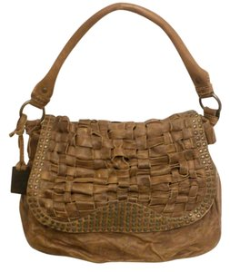 Frye Stact Woven Leather Crossbody Studded Weave Hobo Bag
