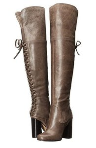 Vince Camuto Over Knee Bomber Knee High Leather Gray Boots
