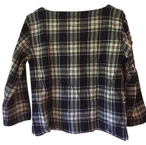 Madewell Plaid Pullover Top Navy blue