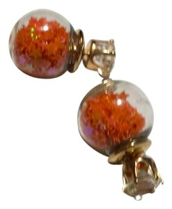 Other New Double Sided Stud Earrings Orange Gold Tone J3252