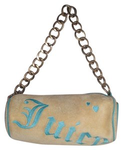Juicy Couture Velour/ Leather Cotton Barrel Logo Chain Strap Baguette